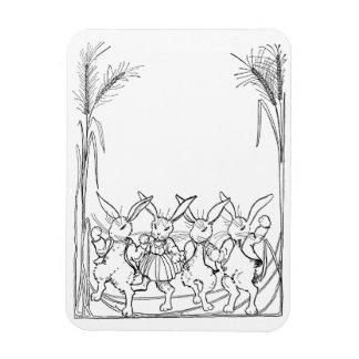 Conejos en hierba alta iman rectangular