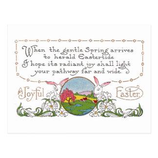 Conejos, escena colorida de la primavera y pareado postal