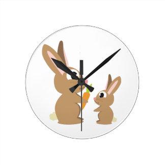 Conejos lindos relojes de pared