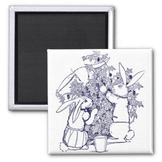 Conejos que escogen las zarzamoras imán cuadrado