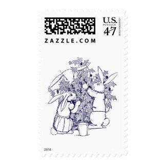 Conejos que escogen las zarzamoras timbres postales