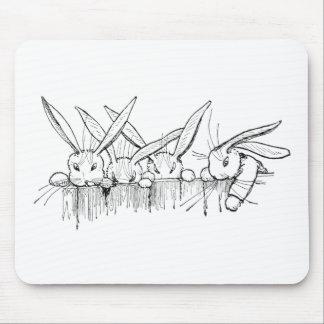 Conejos que miran sobre la cerca mouse pads
