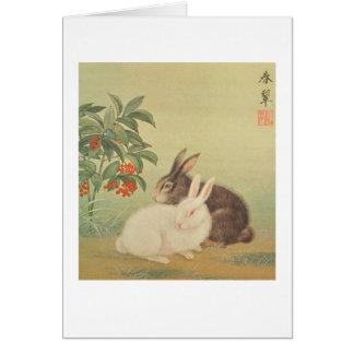 Conejos y bayas tarjeta pequeña
