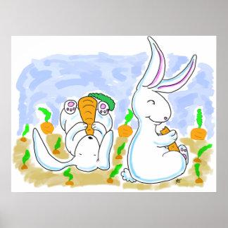 Conejos y poster de las zanahorias
