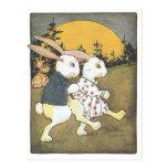 Conejos y sol naciente postales