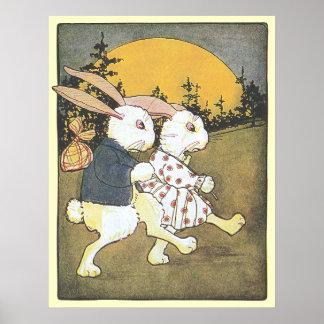 Conejos y sol naciente póster