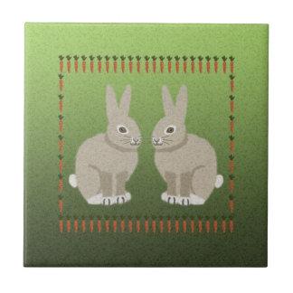Conejos y teja de las zanahorias