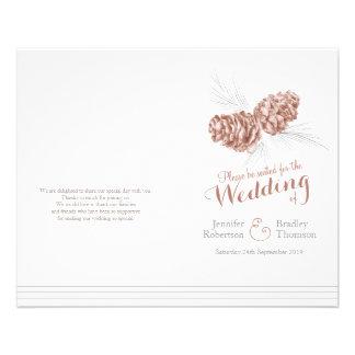 Cones brown grey winter autumn wedding program custom flyer
