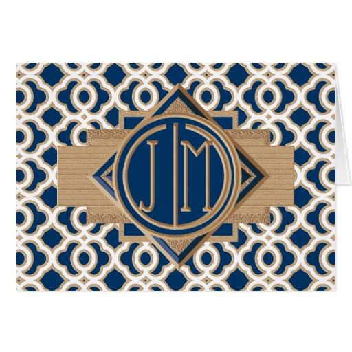 Cones monograma marroquíes de los azules marinos y tarjeta pequeña