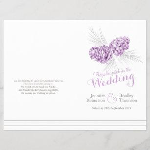 Cones Purple Grey Winter Large Wedding Program