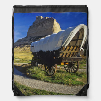 Conestoga wagon at Scottsbluff National Drawstring Bag