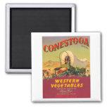 Conestoga Western Vegetables VIntage Crate Label 2 Inch Square Magnet