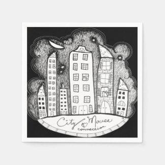 conexión del ratón de la ciudad servilleta de papel