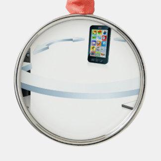 Conexión del teléfono celular del ordenador portát adorno de navidad