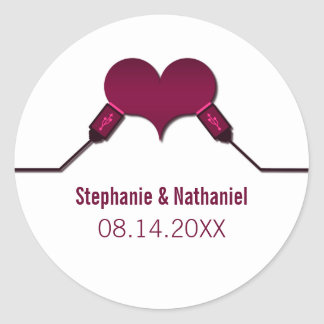 Conexión USB del amor que casa a los pegatinas, Etiquetas Redondas