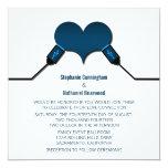 Conexión USB del amor que casa la invitación, azul Invitación 13,3 Cm X 13,3cm