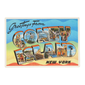 Coney Island #2 New York NY Old Travel Souvenir Placemat
