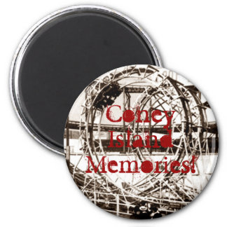Coney Island Antique View Looping Roller Coaster 2 Inch Round Magnet