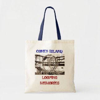 Coney Island Antique View Looping Roller Coaster Canvas Bags
