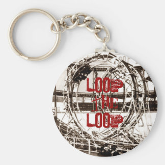 Coney Island Antique View Looping Roller Coaster Basic Round Button Keychain