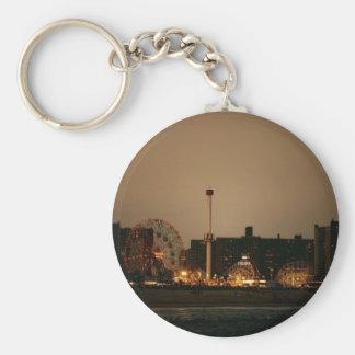 Coney Island at Night Basic Round Button Keychain