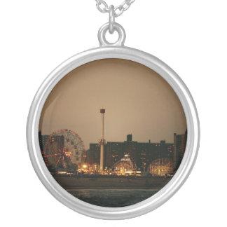 Coney Island at Night Round Pendant Necklace