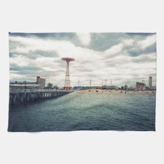 Coney Island Beach Panorama Towel
