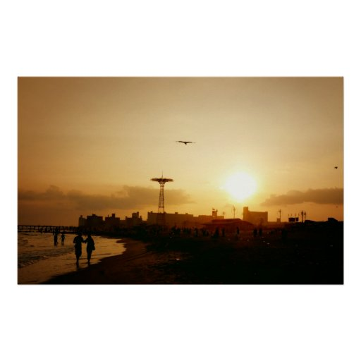 Coney Island Beach Sunset, All Sizes Poster