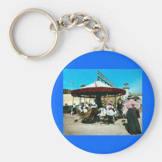 Coney Island Carousel 1890s Magic Lantern Slide Key Chain