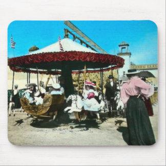 Coney Island Carousel 1890s Magic Lantern Slide Mouse Pad