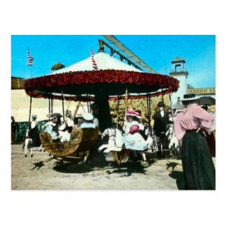Coney Island Carousel 1890s Magic Lantern Slide Postcard
