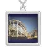 Coney Island Cyclone Roller Coaster, Brooklyn Square Pendant Necklace