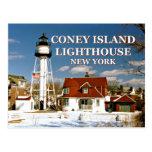 coney, island, lighthouse, new, york, postcard,