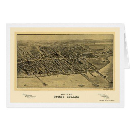 Coney Island, mapa panorámico de NY - 1906 Tarjeta De Felicitación