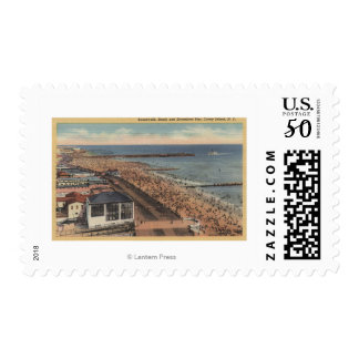 Coney Island, New York - Boardwalk, Beach Postage