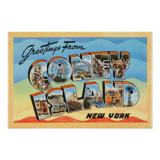 Coney Island New York NY Vintage Travel Postcard - Poster
