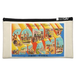 Coney Island New York NY Vintage Travel Souvenir Cosmetic Bag