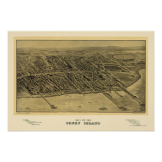 Coney Island, NY Panoramic Map - 1906 Poster