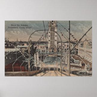 Coney Island, NY - Shoot the Schutes Ride Poster