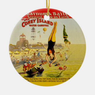 Coney Island Sideshow Poster Double-Sided Ceramic Round Christmas Ornament
