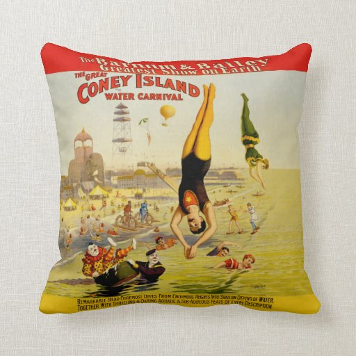 Coney Island Sideshow Poster Throw Pillow