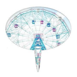 Coney Island Wonderwheel Ferris Wheel in Summer Cake Toppers