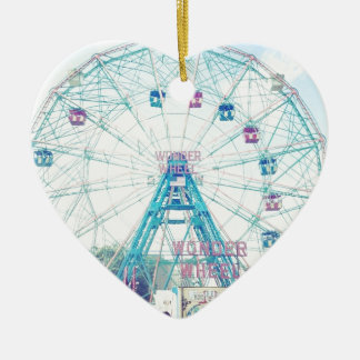 Coney Island Wonderwheel Ferris Wheel in Summer Ceramic Ornament