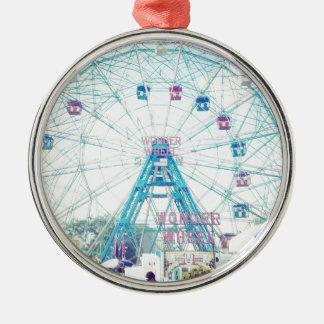 Coney Island Wonderwheel Ferris Wheel in Summer Metal Ornament