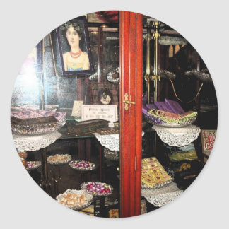 """""""Confectionery Display Cabinet"""".* Classic Round Sticker"""