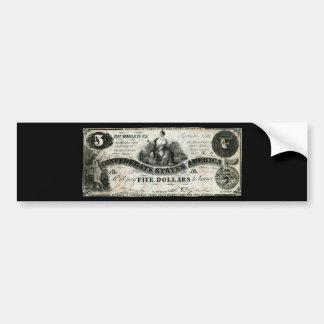 Confederado 1861 nota de cinco dólares pegatina para auto