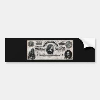 Confederado 1864 cientos notas del dólar pegatina para auto