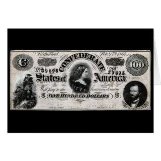 Confederado 1864 cientos notas del dólar felicitacion
