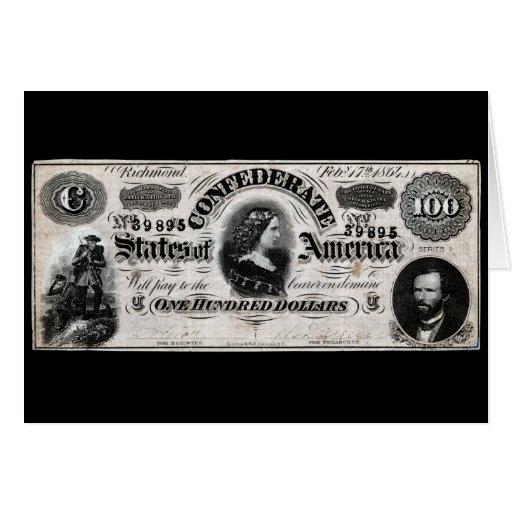Confederado 1864 cientos notas del dólar tarjeta de felicitación