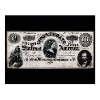 Confederado 1864 cientos notas del dólar postales